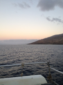 Sunrise from Maui on our whale watching catamaran.