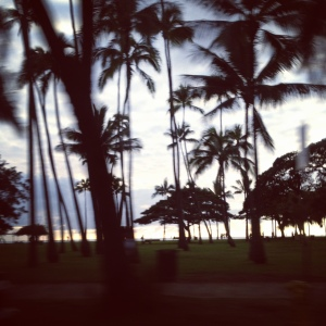Sunset from the taxi - over Kapiolani beach