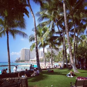 Waikiki beach is packed!
